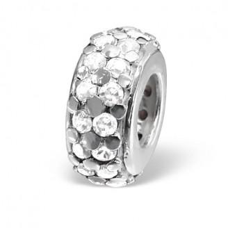 """Korálek stříbrný s krystaly na Pandora náramek """"Consummio"""". Ag 925/1000"""
