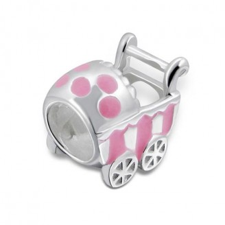 "Stříbrný korálek na náramek Pandora ""Růžový kočárek"".lt.pk. Ag 925/1000"