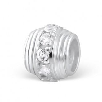 "Stříbrný korálek se zirkony na náramek. ""Vera"". Ag 925/1000"