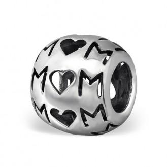 """Korálek stříbrný na náramek Pandora """"Mom"""". ox. Ag 925/1000"""