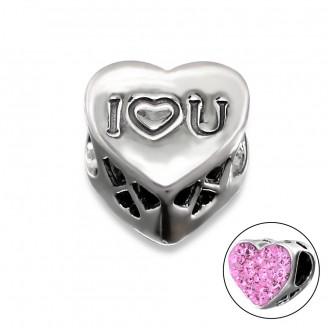 "Stříbrný korálek s krystaly na Pandora náramek ""I love you"". Ag 925/1000"