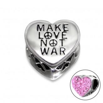 "Korálek stříbrný s krystaly na Pandora náramek ""Make Love Not War"". Ag 925/1000"
