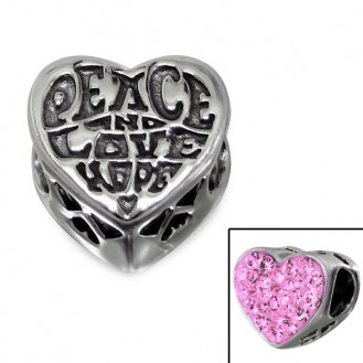 "Stříbrný korálek s krystaly na Pandora náramek ""Mír, Láska a Naděje"". Ag 925/1000"