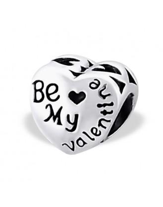 """Stříbrný korálek na náramek Pandora, """"Be My Valentine"""". Ag 925/1000"""