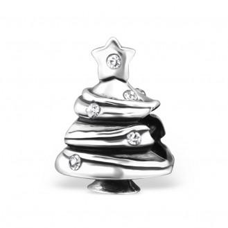 """Stříbrný korálek se zirkony na náramek Pandora """"Vánoční stromeček"""". Ag 925/1000"""