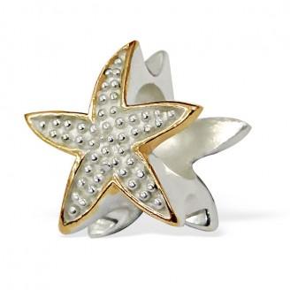 """Korálek stříbrný pozlacený na náramek Pandora """"Mořská hvězdice"""". Ag 925/1000"""