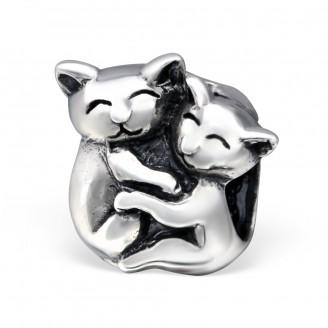 """Korálek stříbrný na náramek Pandora """"Koťátka"""". Ag 925/1000"""