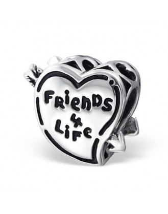 "Korálek stříbrný na náramek Pandora ""Friends 4 Life"". Ag 925/1000"