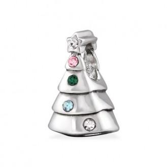 """Stříbrný korálek s krystaly na náramek Pandora """"Vánoční stromeček"""". Ag 925/1000"""