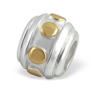 "Stříbrný pozlacený korálek na Pandora náramek ""Patet"". Ag 925/1000"