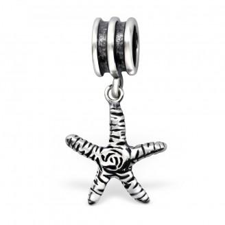 """Stříbrný korálek s přívěskem """"Mořská hvězdice"""" na Pandora náramek. Ag 925/1000"""