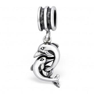 """Stříbrný korálek s přívěskem """"Dva delfínci"""" na Pandora náramek. Ag 925/1000"""