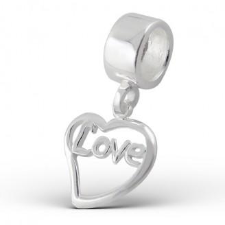 "Stříbrný korálek s přívěskem na Pandora náramek ""Láska"". Ag 925/1000"