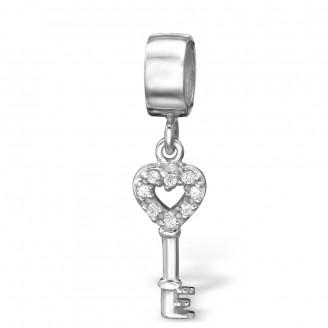 """Stříbrný přívěsek se zirkony na náramek Pandora """"Stříbrny klíč"""". Ag 925/1000"""