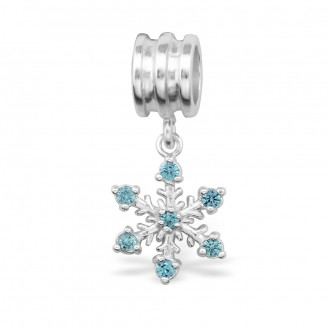 """Stříbrný přívěsek se zirkony na náramek Pandora """"Sněhová vločka"""". Ag 925/1000"""