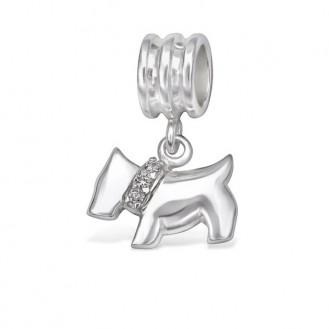 """Stříbrný přívěsek se zirkony na Pandora náramek """"Pes"""". Ag 925/1000"""