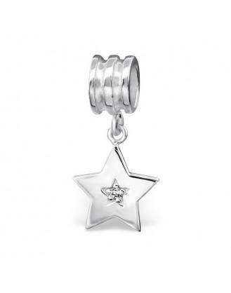 """Přívěsek stříbrný se zirkony na Pandora náramek """"Stříbrná hvězda"""". Ag 925/1000"""