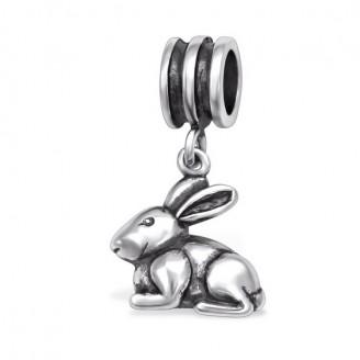 """Stříbrný korálek s přívěskem """"KRÁLÍČEK"""" na Pandora náramek. Ag 925/1000"""