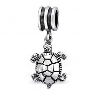 """Stříbrný korálek s přívěskem """"Roztomilá želvička"""" na Pandora náramek. Ag 925/1000"""