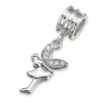 """Stříbrný korálek s krystaly na Pandora náramek s přívěskem """"Víla"""". Ag 925/1000"""