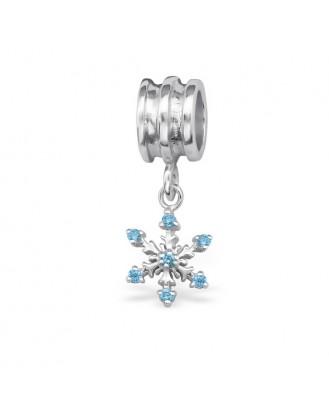 """Stříbrný korálek se zirkony na náramek Pandora """"Sněhová vločka"""". 2. Ag 925/1000"""