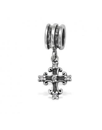 """Přívěsek stříbrný se zirkony na Pandora náramek """"Křížek"""". ox. Ag 925/1000"""