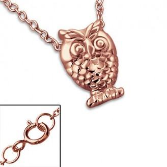 """Stříbrný náhrdelník, pozlacený """"Sova"""" rose gold. Ag 925/1000"""