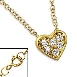 """Stříbrný náhrdelník se zirkony, pozlacený """"Zlaté srdíčko"""" gold. Ag 925/1000"""