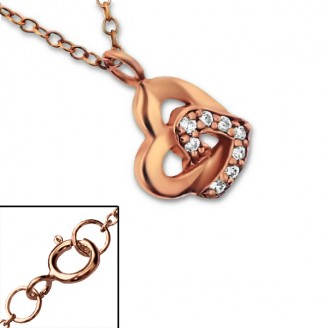 """Stříbrný náhrdelník se zirkony, pozlacený """"Hearts"""" rose gold. Ag 925/1000"""
