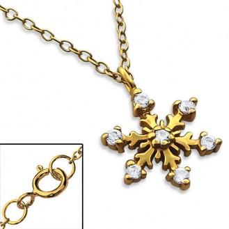 """Stříbrný náhrdelník se zirkony, pozlacený """"Sněhová vločka"""" gold. Ag 925/1000"""