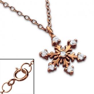 """Stříbrný náhrdelník se zirkony, pozlacený """"Sněhová vločka"""" rose gold. Ag 925/1000"""