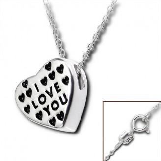 """Stříbrný náhrdelník """"I LOVE YOU 2"""". Ag 925/1000"""