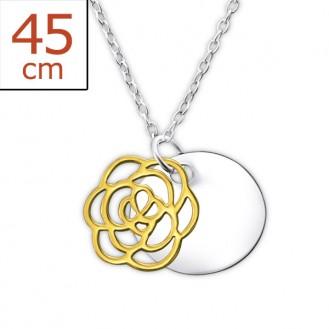 """Stříbrný náhrdelník zdobený ruthéniem """"Mauris rosa"""". gp. Ag 925/1000"""