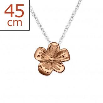 """Stříbrný náhrdelník pozlacený """"Zlatý květ"""". Ag 925/1000"""