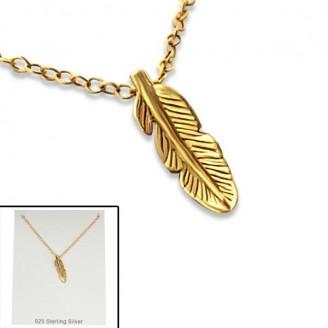 """Stříbrný náhrdelník, pozlacený """"Pírko"""" gold. Ag 925/1000"""