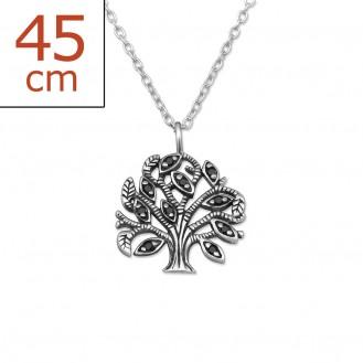 """Stříbrný náhrdelník se zirkony """"Lignum vitae"""". Ag 925/1000"""