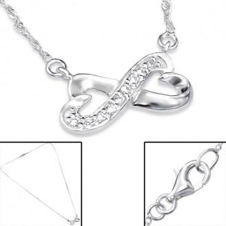 """Stříbrný náhrdelník se zirkony """"Miluji Tě"""". Ag 925/1000"""
