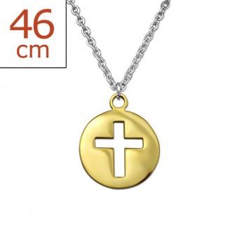"""Ocelový náhrdelník z chirurgické oceli s pozlaceným přívěskem """"Crucis"""". gd."""