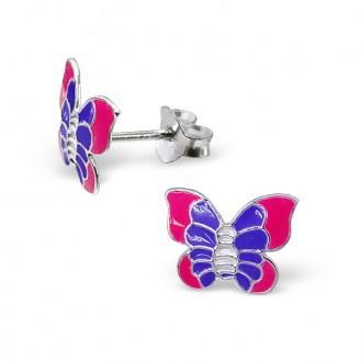 """Dětské náušnice stříbrné """"Kouzelné motýli"""". Ag 925/1000"""