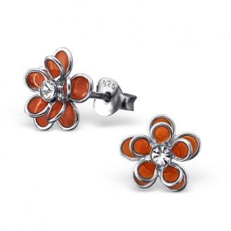 """Dětské stříbrné náušnice s jedním krystalem """"Oranžové květy"""". Ag 925/1000"""