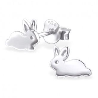 """Dětské stříbrné náušnice """"Stříbrné zajíčky"""". Ag 925/1000"""