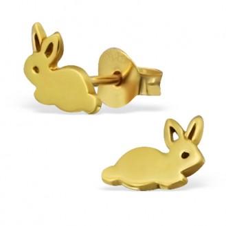 """Pozlacené dětské stříbrné náušnice """"Zlaté králíky"""".gp. Ag 925/1000"""