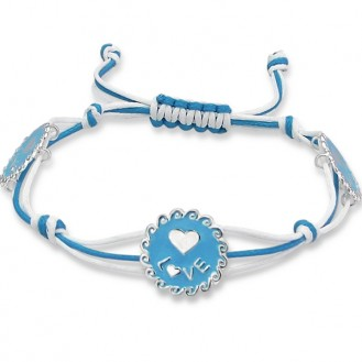 """Náramek se stříbrnými přívěsky """"LOVE – Láska"""" ve světle modré barvě. Ag 925/1000"""