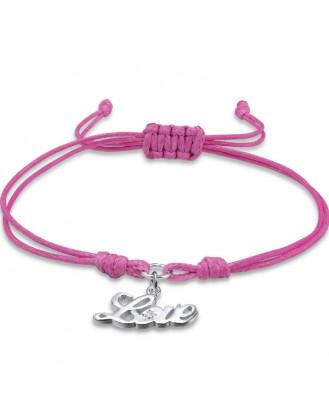 """Bavlněný náramek se stříbrným přívěskem """"Love"""" růžový. Ag 925/1000"""