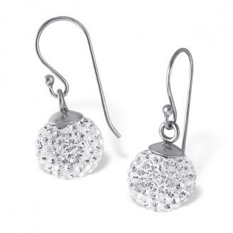 """Náušnice stříbrné visací s krystaly """"Lampičky"""". Ag 925/1000"""