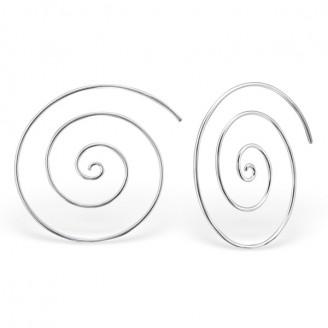 """0,8x30 Stříbrné kruhové náušnice """"Spirála"""". Ag 925/1000"""