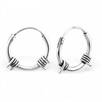 "1,2x12 Stříbrné náušnice kruhy ""Spina"". Ag 925/1000"
