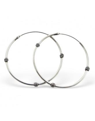 "1,2x30 Stříbrné náušnice kruhy ""Ibiza"". Ag 925/1000"