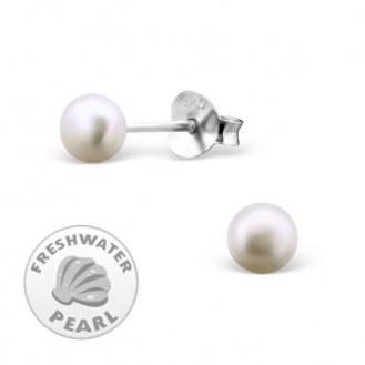 """Dámské stříbrné náušnice se říční perly """"Klasika"""".4. Ag 925/1000"""