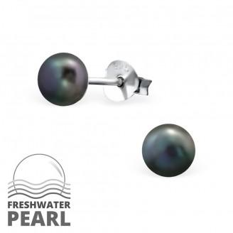 """Dámské stříbrné náušnice se říční perly """"Klasika"""".5. Ag 925/1000"""